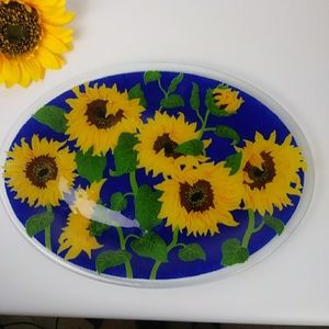 Sunflower crystal oval tray